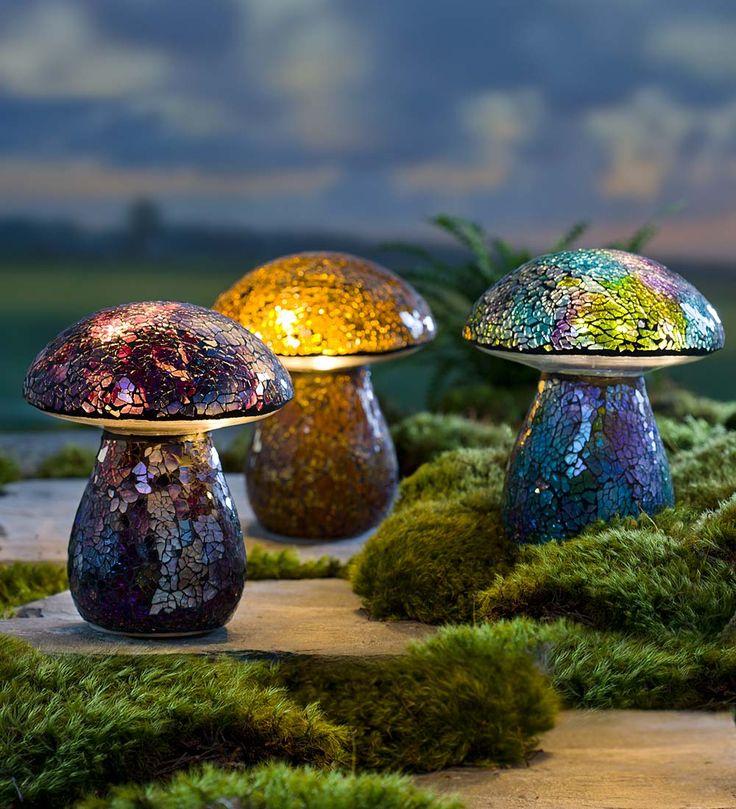 Glass Mosaic Mushroom Lawn Ornament   Garden Statuary