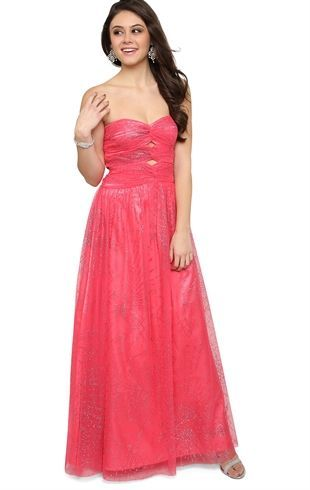 Deb Shops Glitter Long #Prom #Dress with Double Open Knot Sweetheart Bodice $179.90
