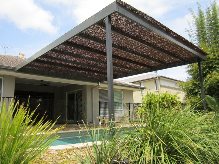 Queensland patio over pool, with a bamboo roof for filtered shade ...