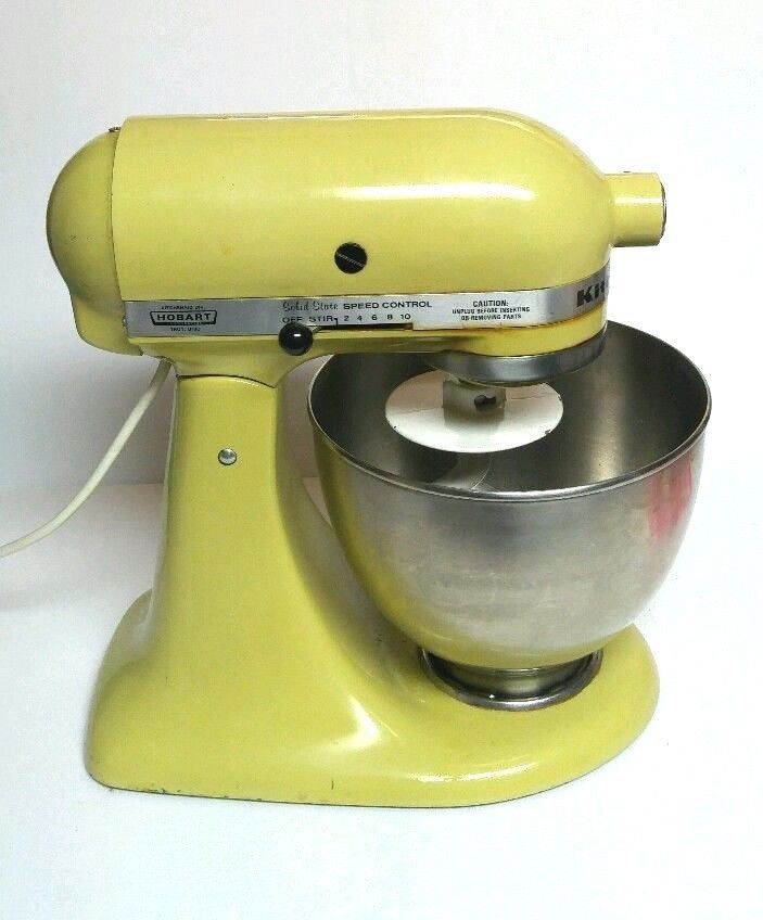 Hobart Kitchenaid Mixer K45SS Avocado 4.5 Qt with K45 Mixing Bowl Bread Hook VTG