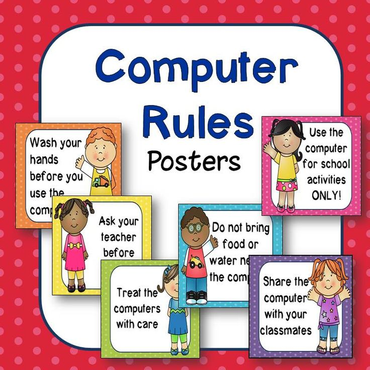 Happy Kids computer rules posters. Great for bulletin boards or computer labs! $