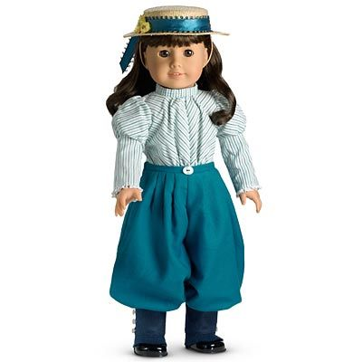 Samantha's Bicycling Outfit- blouse, bloomers, hat, garters.