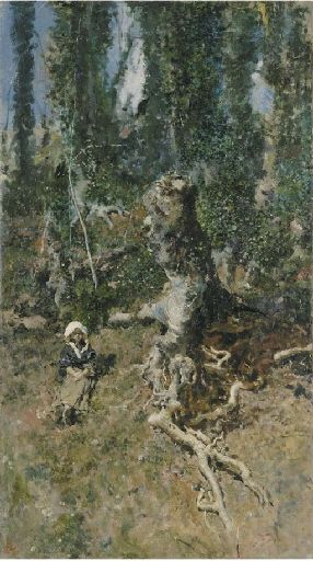 Mariano Fortuny Marsal -A young girl in a wooded landscape