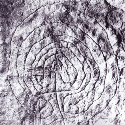 "Possibly the world's oldest surviving labyrinth"" -- Symbol present in the ""Domus de Jana"" of Luzzanas in Sardinia (Italy); it's dated about 6000 years old"