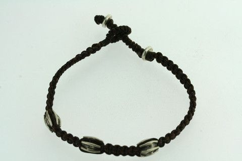 3 silver bead string bracelet - chocolate
