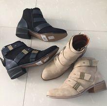 Genuino de la marca de cuero de la motocicleta del motorista mujeres con cordones de gamuza botas de nieve de zapatos de marca de diseñadores famosos mujer pisos(China (Mainland))