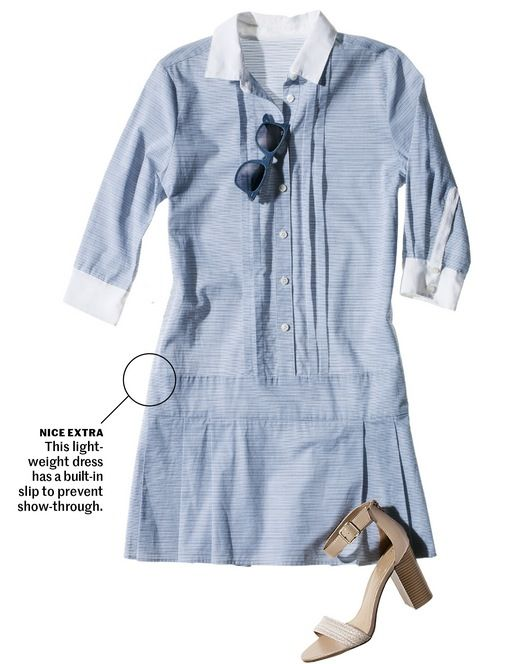 Tailored like a natty blue dress shirt, this looks ready for a country-club luncheon with heels and shades. For a day of shopping, swap in cute sneakers.