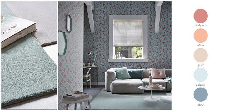 Tapijtcollectie Inova Sense van Desso, Duette® Shades Luxaflex®, romantisch kleurenpalet.