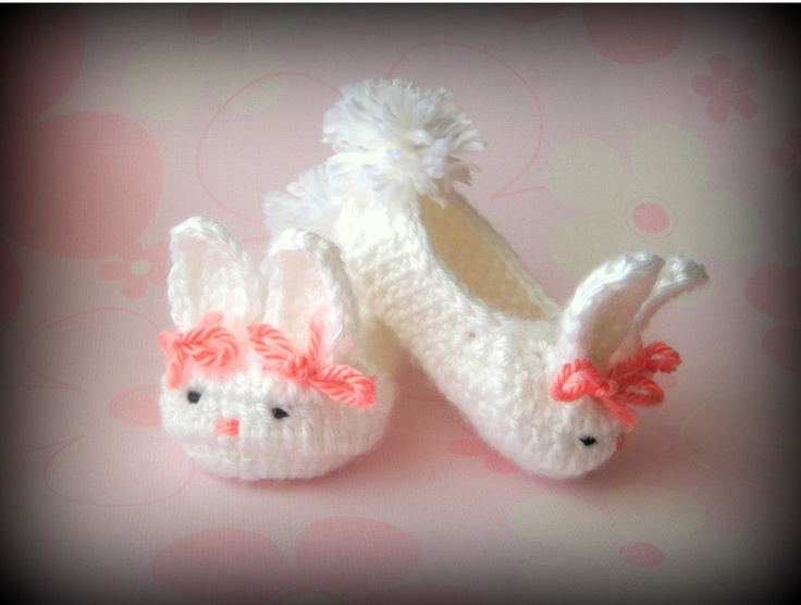 Bunny Slippers for Baby Girls Easter or Spring by FrivolTees: Babies, Crochet Booty, Bunny Slippers, Bunnies Slippers, Baby Bunnies, Girls Easter, Baby Girls, Baby Boy, Baby Stuff