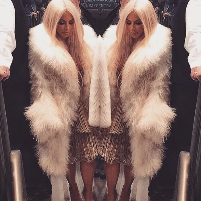 Kim Kardshian's Instagram post of her outfit at the Yeezy Season 3 fashion show — posted on February 11, 2016