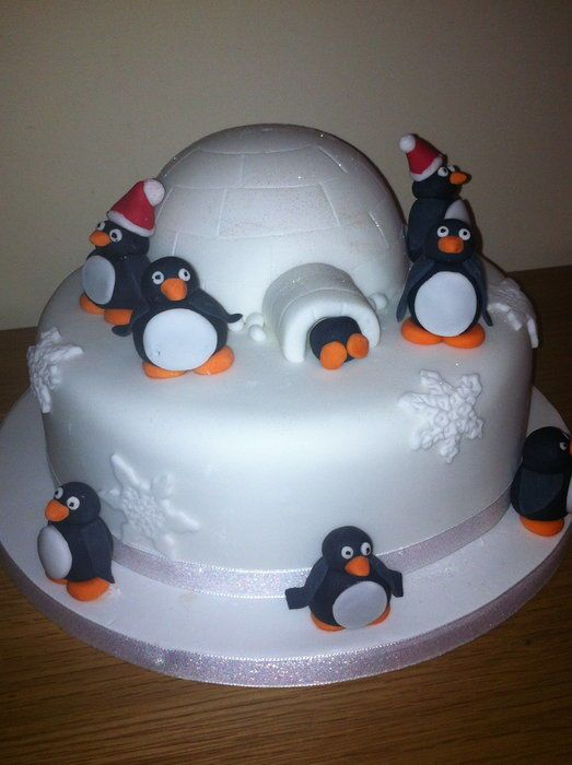 Penguin igloo cake - love this. Would make a cute Christmas cake. Traditional fruit with a small chocolate igloo for the children?