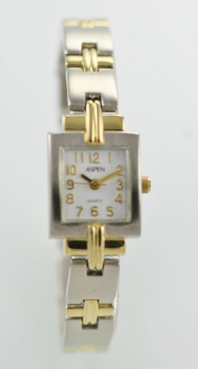 Aspen Watch Womens White Stainless Steel Silver Gold Water Resist Battery Quartz