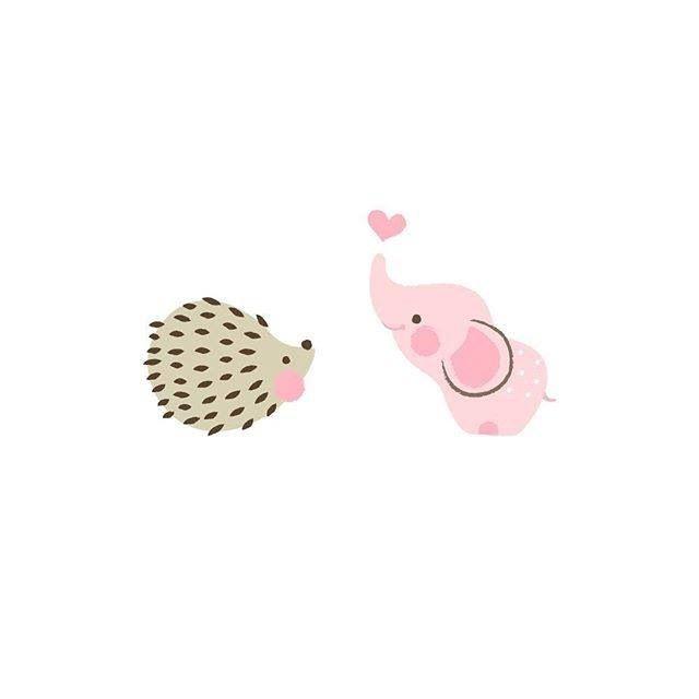 Cute Hedgehog & Elephant                                                                                                                                                                                 Mais
