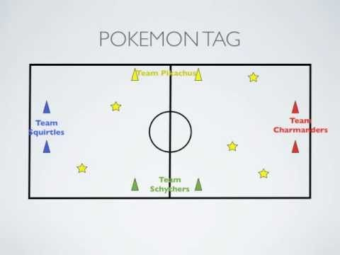 Physical Education Games - Pokemon Tag (students try to avoid being tagged by opposite team members... if tagged students must go back to their home area and perform a movement)