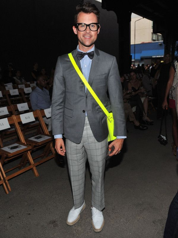 Brad Goreski and his Cambridge Satchel proving that anyone can pull off a fluoro!