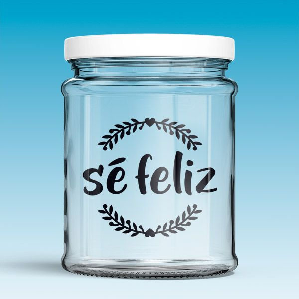 Vinilos Decorativos: Sé feliz. Vinilo para decorar frasco de cristal o tarro, jarra de cristal, limonadas, café...... #jarra #tarro #frasco #decoración #vinilo #manualidades #TeleAdhesivo