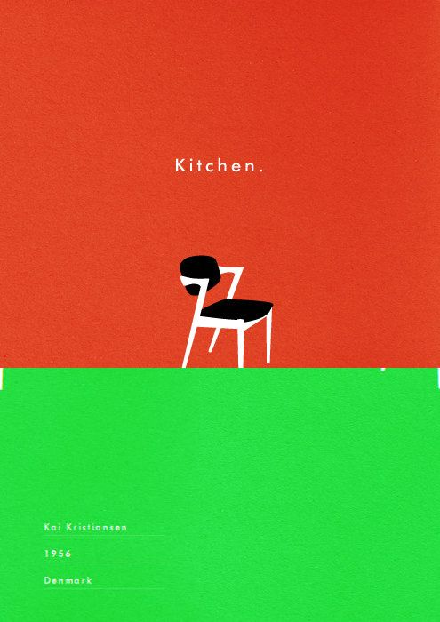 Kitchen art print Mid Century chair poster retro danish modern illustration typography via Etsy
