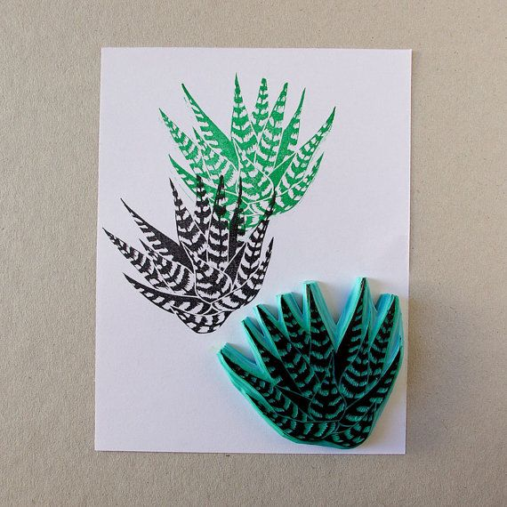 Succulent zebra Haworthia rubber stamp for your by CassaStamps, $13.00