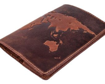 "Handmade Premium leather passport cover case ""World Map 3D Print"" International format, 133*192 mm"