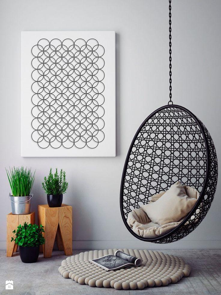 Minimalistyczne kręgi - nowoczesny obraz na płótnie - zdjęcie od VAKU-DSGN - Salon - Styl Minimalistyczny - VAKU-DSGN