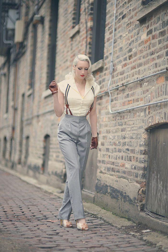 Grey Pants With Stripped Braces Menswear Button On Braces For Women Pinterest La Femme