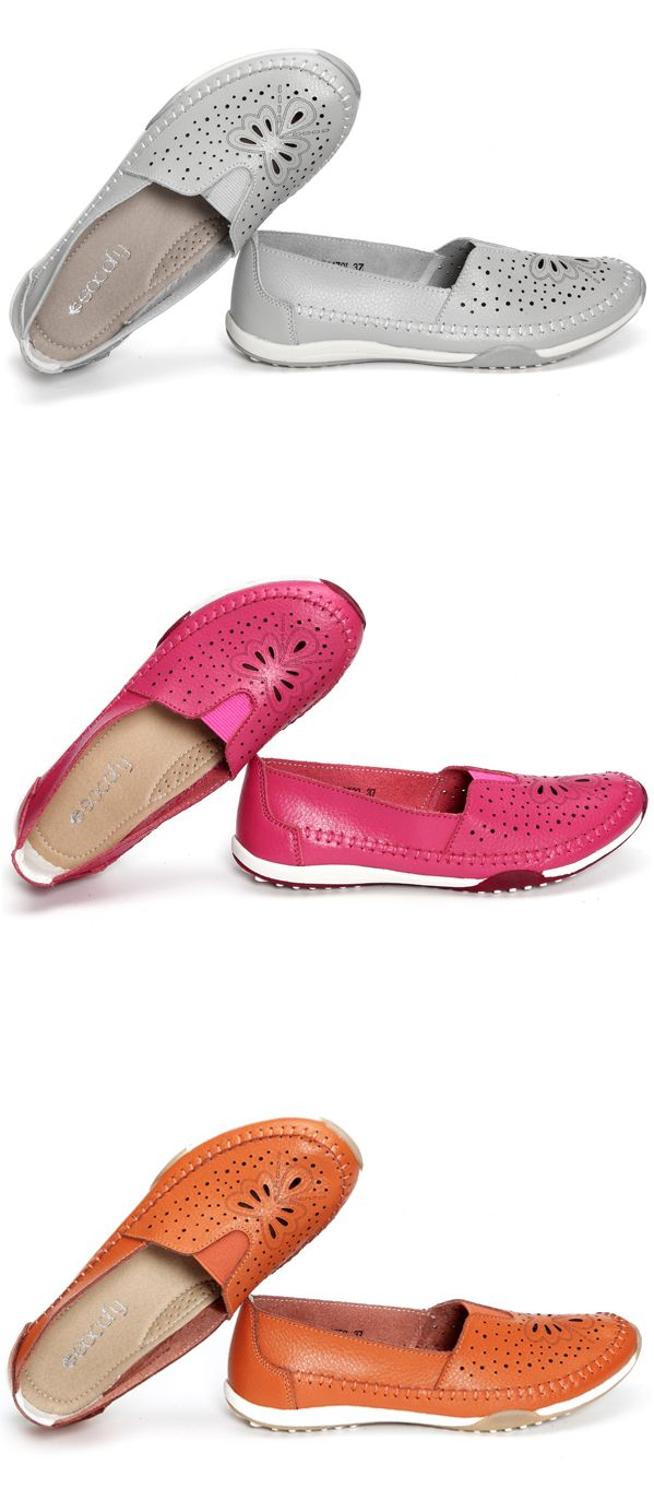 US$18.28 SOCOFY Big Size Butterfly Hollow Out Comfortable Leather Flat Casual Loafers