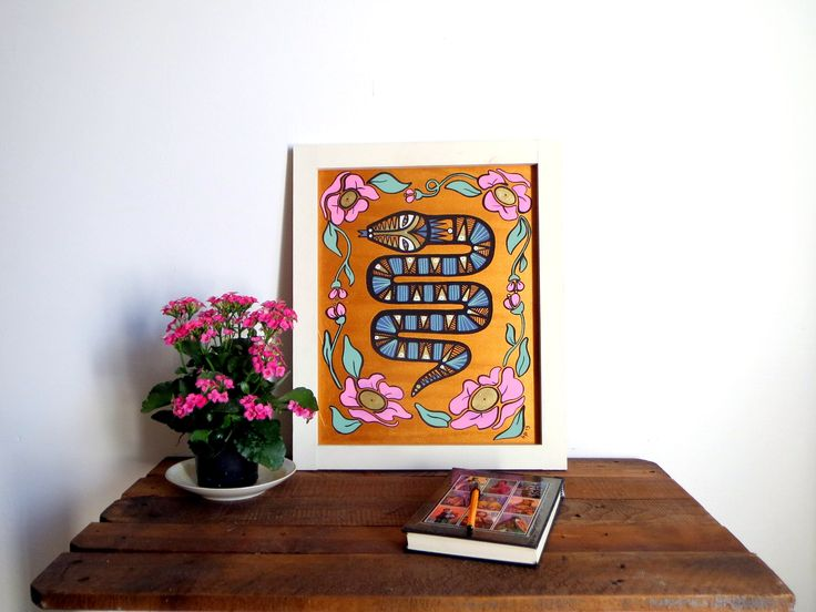 Snake and pink flowers original painting, acrylic painting on wood, with handmade white wooden frame, gold background, ready to hang, boho by BeatricePoggioArt on Etsy