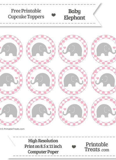 Free Pastel Light Pink Checker Pattern Baby Elephant Cupcake Toppers