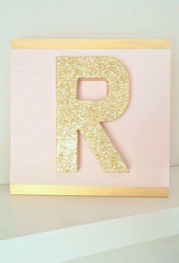 28 gold glitter block paper mache letter on 12 x 12 for Glitter cardboard letters