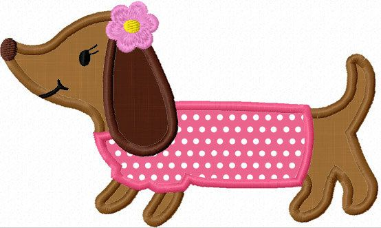 Dachshund Dog Applique Machine Embroidery Design NO:1152. $2.99, via Etsy.