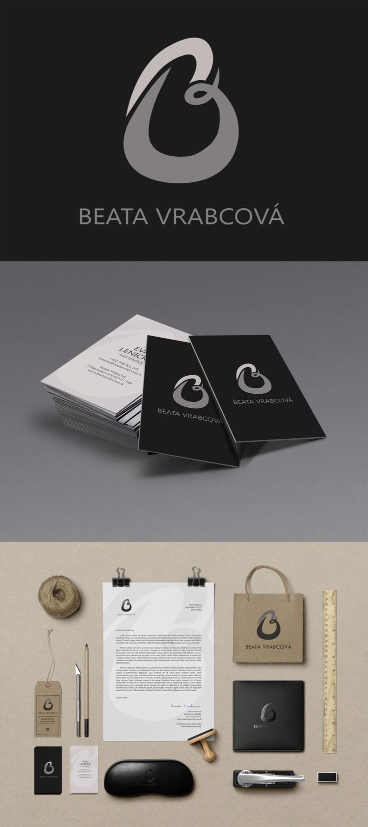 Personal brand identity for a custom designer and tailor Beata Vrabcová. More about the project on https://www.behance.net/gallery/17106429/Beata-Vrabcova
