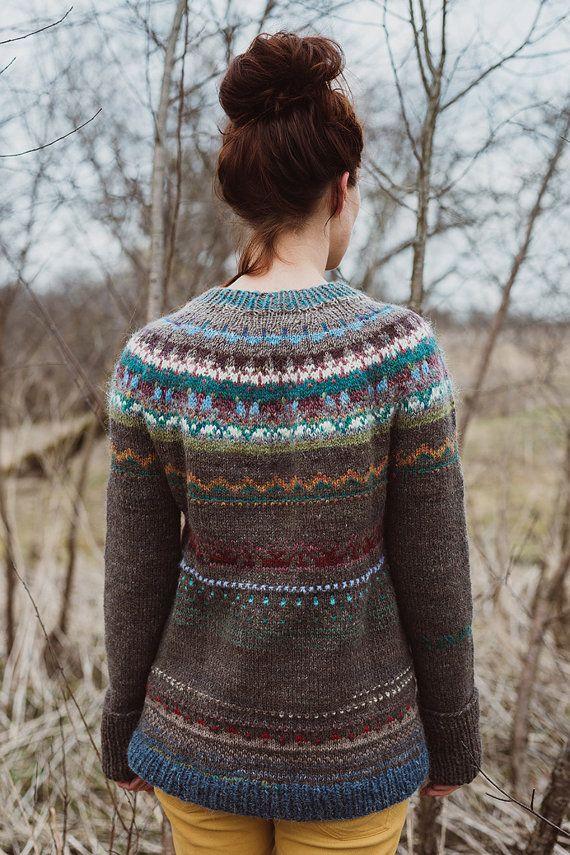 100% natural handmade knitted Icelandic style sweater by TASSSHA