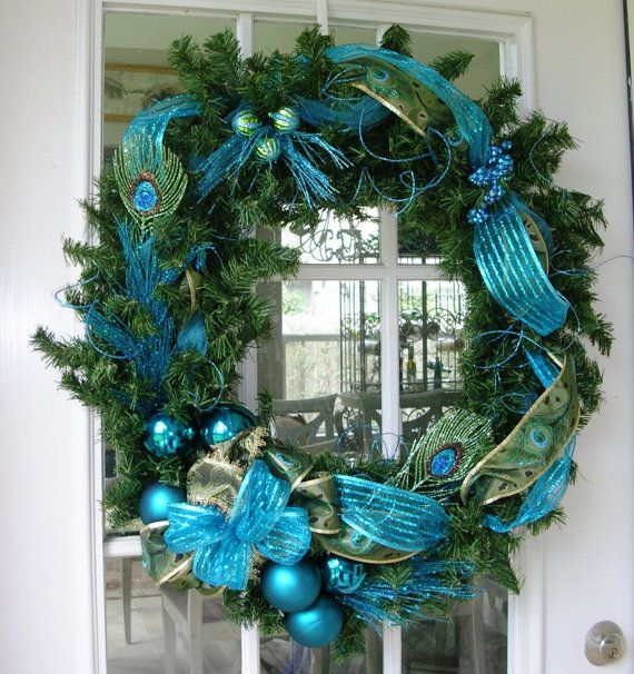 Peacock Green and Teal Blue Christmas Wreath by BernoullisAttic: