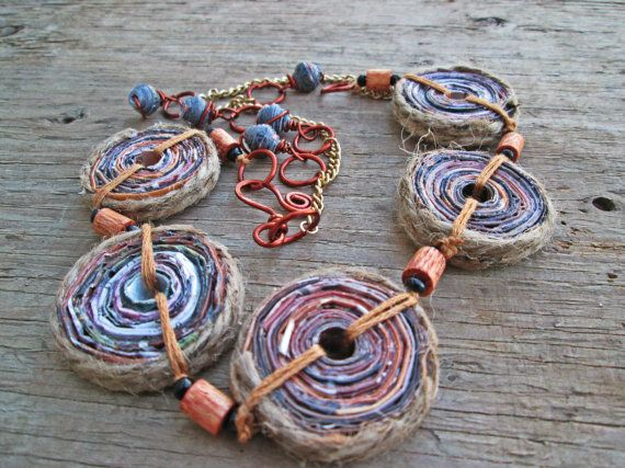 Upcycled recycled repurposed paper necklace  by EarthChildArt, $40.00
