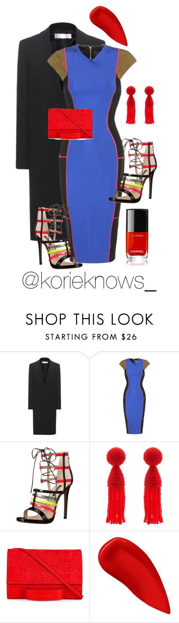 """Modalist"" by riskyclothing ❤ liked on Polyvore featuring Victoria, Victoria Beckham, Victoria Beckham, Ruthie Davis, Oscar de la Renta, Esin Akan, Lipstick Queen and Chanel"