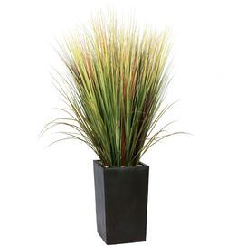 """Faux grass arrangement in a stone-inspired planter.    Product: Faux plant Construction Material: Plastic, polyester, rocks, foam, glue, wire and fiberstone Color: Green and black Features:  Lifelike grass floor plant in a contemporary planter Decorative planter included High quality artificial plant offers years of beauty with virtually no maintenance Grasses are perfect for a contemporary or transitional decor, but also work well in a casual or country room   Dimensions: 60"""" H x 24…"""