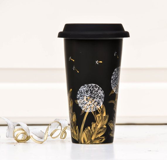 Chalkboard  Ceramic Travel Mug - Gold and Silver - Porcelain Eco Cup - Black Silicon Lid - Dandelions Cup.