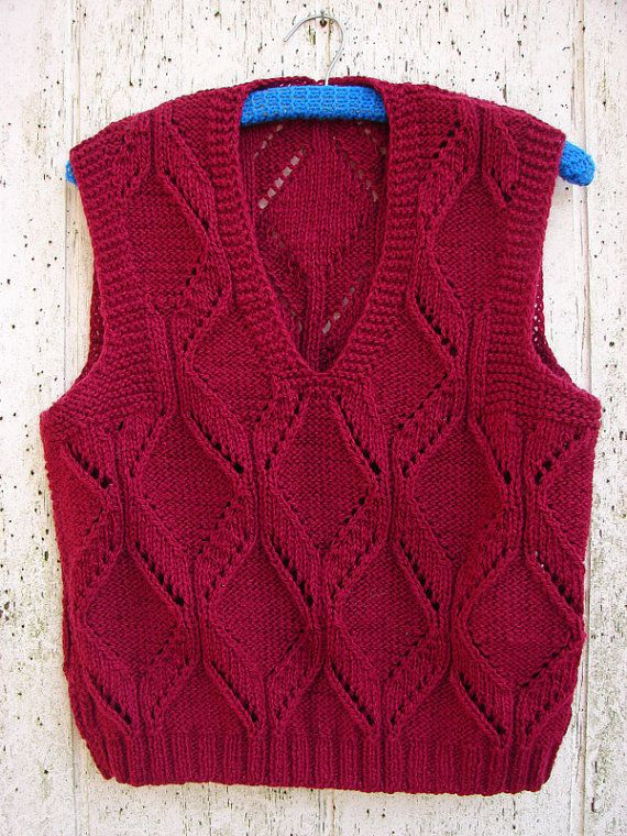 Hand Knit Vest by woolpleasure on Etsy, $24.99