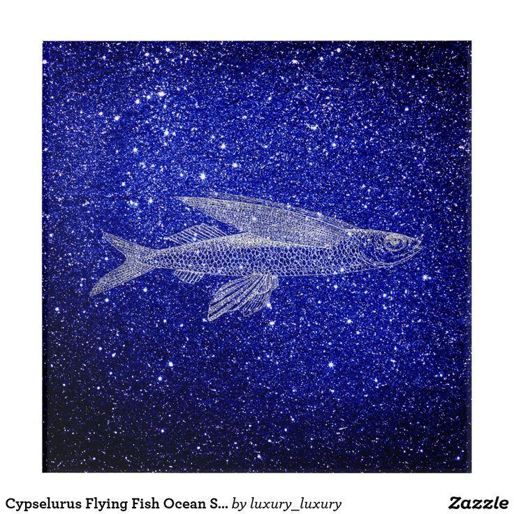 Cypselurus Flying Fish Ocean Sea Blue Navy Silver