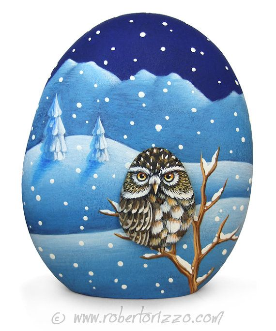 Hey, I found this really awesome Etsy listing at https://www.etsy.com/listing/227160707/little-owl-under-the-snow-two-painted