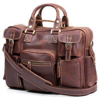 Ljusbrun Delton Läderresväskan