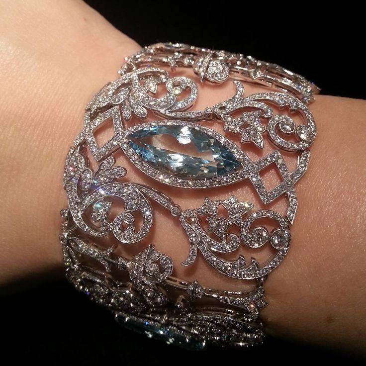 aquamarine diamond bracelet by tiffanyandco from Christies Hong Kong]