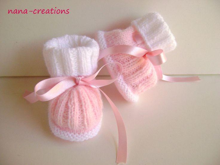 chaussons de laine bébé ou reborn tricotés main : Mode Bébé par nana-creations