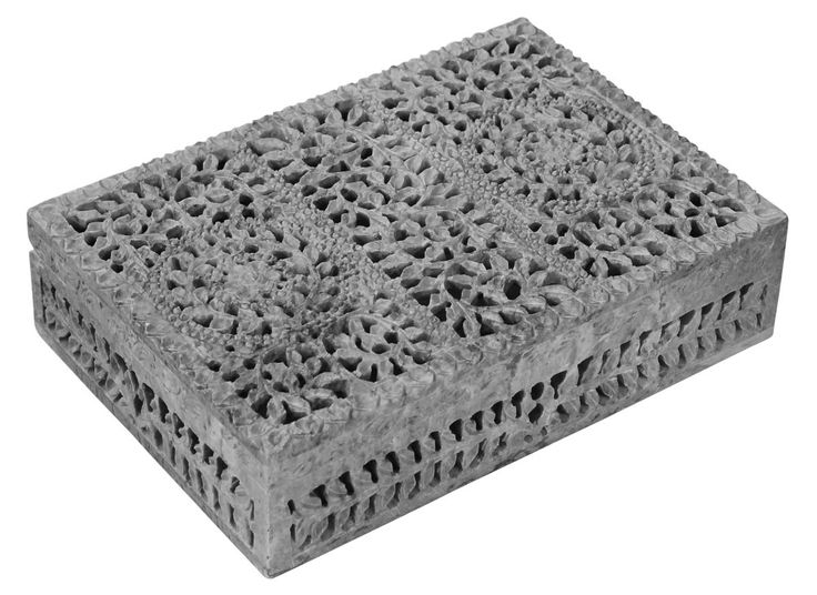 """Bulk Wholesale 10"""" Hand-Carved Rectangle Shaped Jewelry Box / Trinket Box in Soapstone – Designed with Floral & Leafy Patterns in Jaali Art – Decorative Keepsake Boxes"""