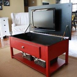 Hide the tv in a chestTv Storage, Coffee Tables, Hidden Tv, Organic Ideas, Hiding Tv, Tv Cabinets, Living Room, Tvs, Diy Projects