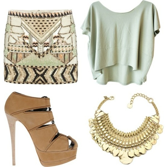coolest skirt!Neutral Outfit, Nude Shoes, Fashion, Statement Necklaces, Skirts, Style, Cute Outfit, Summer Night, Dreams Closets