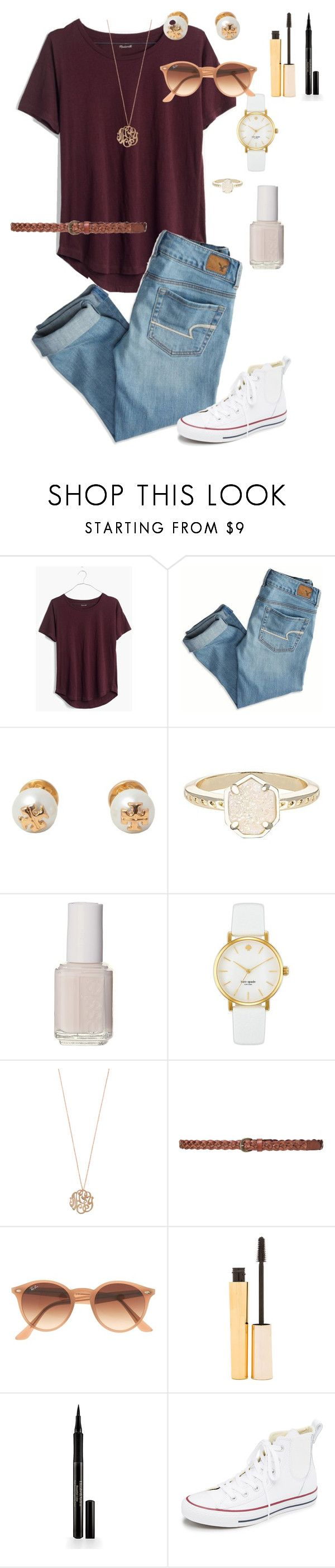 """Untitled #166"" by rosiemccumiskey ❤ liked on Polyvore featuring Madewell, American Eagle Outfitters, Tory Burch, Kendra Scott, Essie, Kate Spade, Ginette NY, Zara, Ray-Ban and Stila"