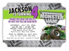 Monster Jam Grave Digger Personalized Die Cut Ticket Invitations $29 for 16 custom invitations