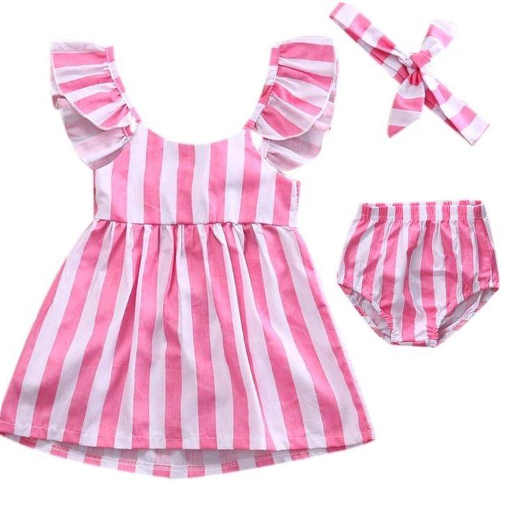 Candy Stripe Cross Back Pink set