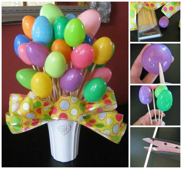 Easter Egg Bouquet! instructions == http://diycozyhome.com/6-creative-easter-crafts-and-ideas/  This is a VERY simple but big impact craft idea for Easter! Just need a handful of items and you can make this cute egg bouquet too! All the details on the blog. ~~~~~~~~~~~¥~~~~~~~~~~